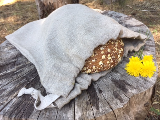 Natural Heavy Linen Bread Bag Eco-Friendly Food Storage