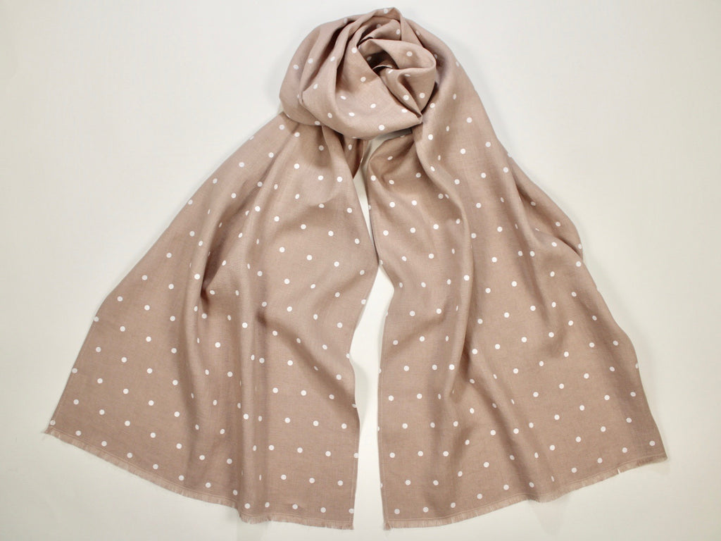 Linen Scarf Pinkish Dogwood Gray with White Polka Dots