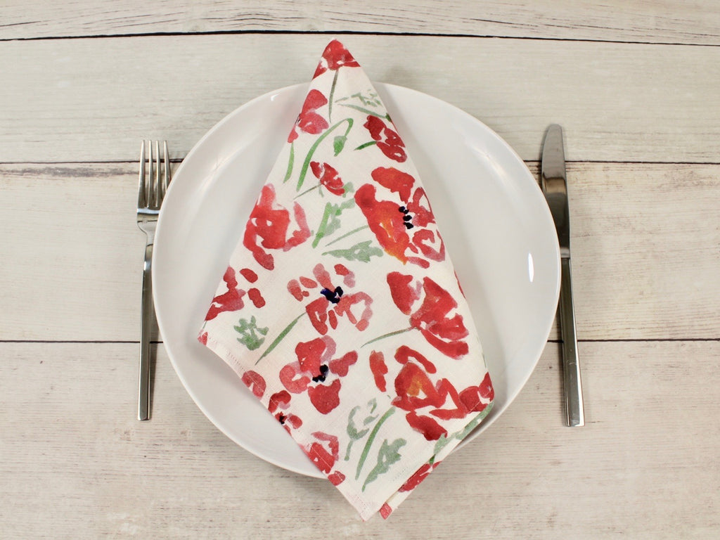"Linen napkins Set of four ""Watercolor Poppies"""