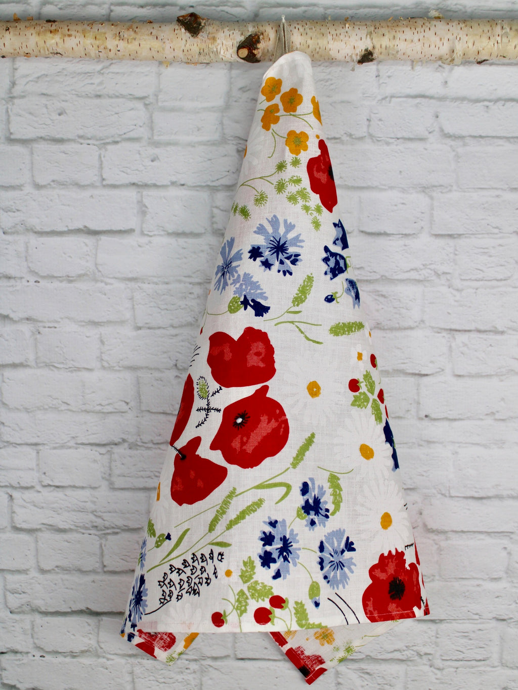 "Linen Tea Towel  ""Poppy Meadow"""