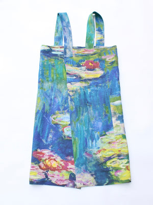 Linen cross back apron Claude Monet Water Lilies