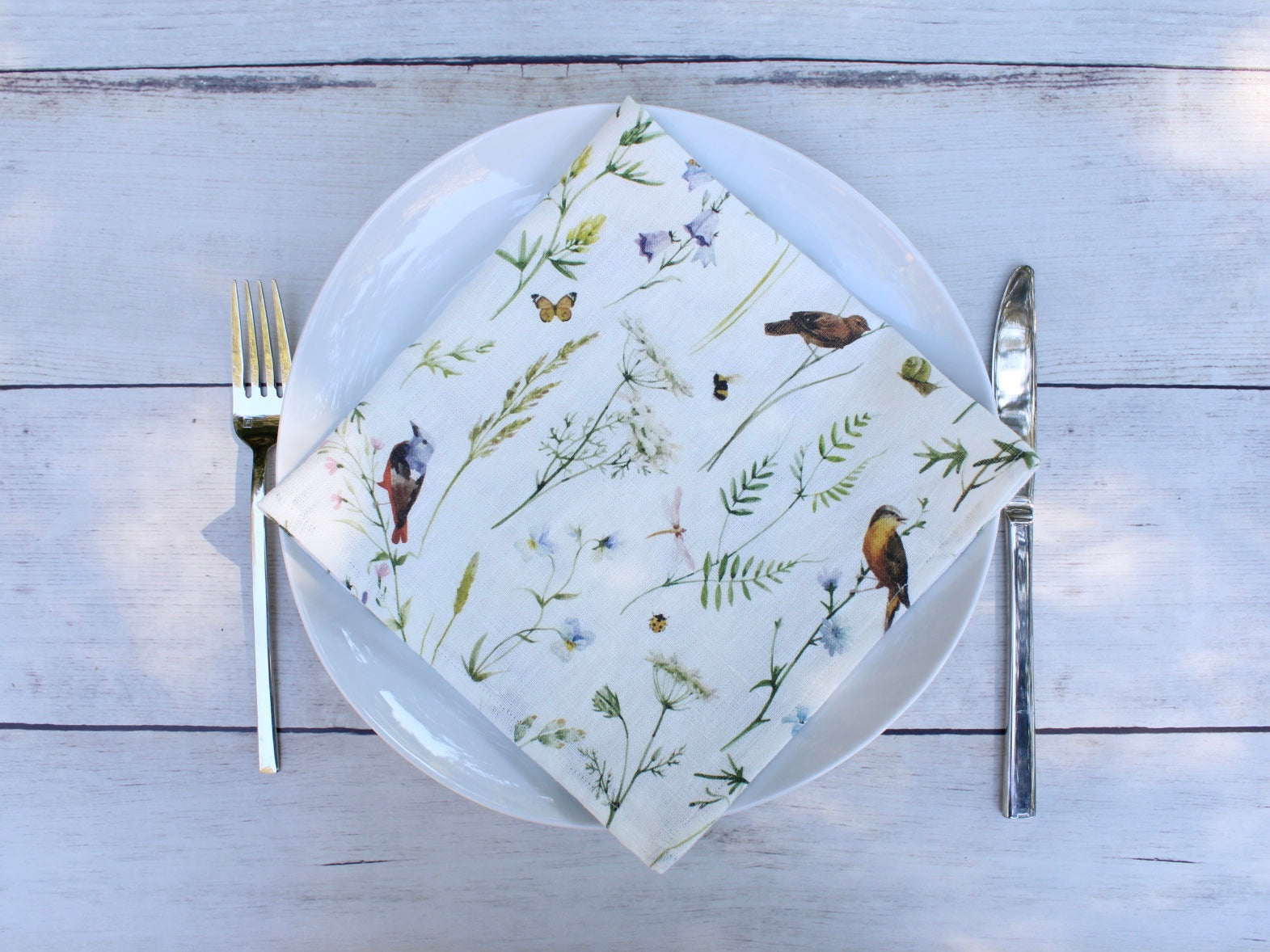 Linen napkins Watercolor Birds, Bees and Blooms Set of two