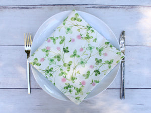 Linen napkins Watercolor Pink Clover Set of two