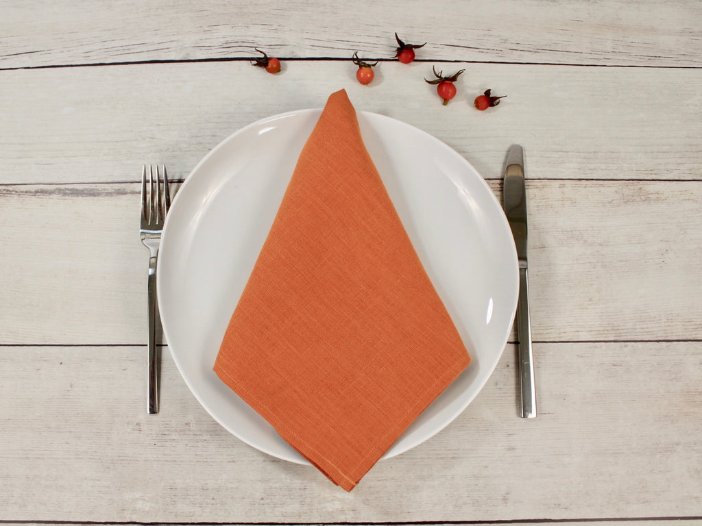 Linen napkins set of two Muted Orange color