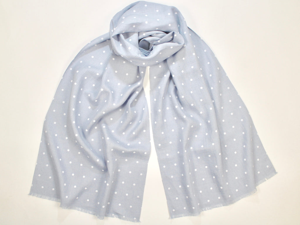 Linen Scarf Soft Pale Blue with White Polka Dots