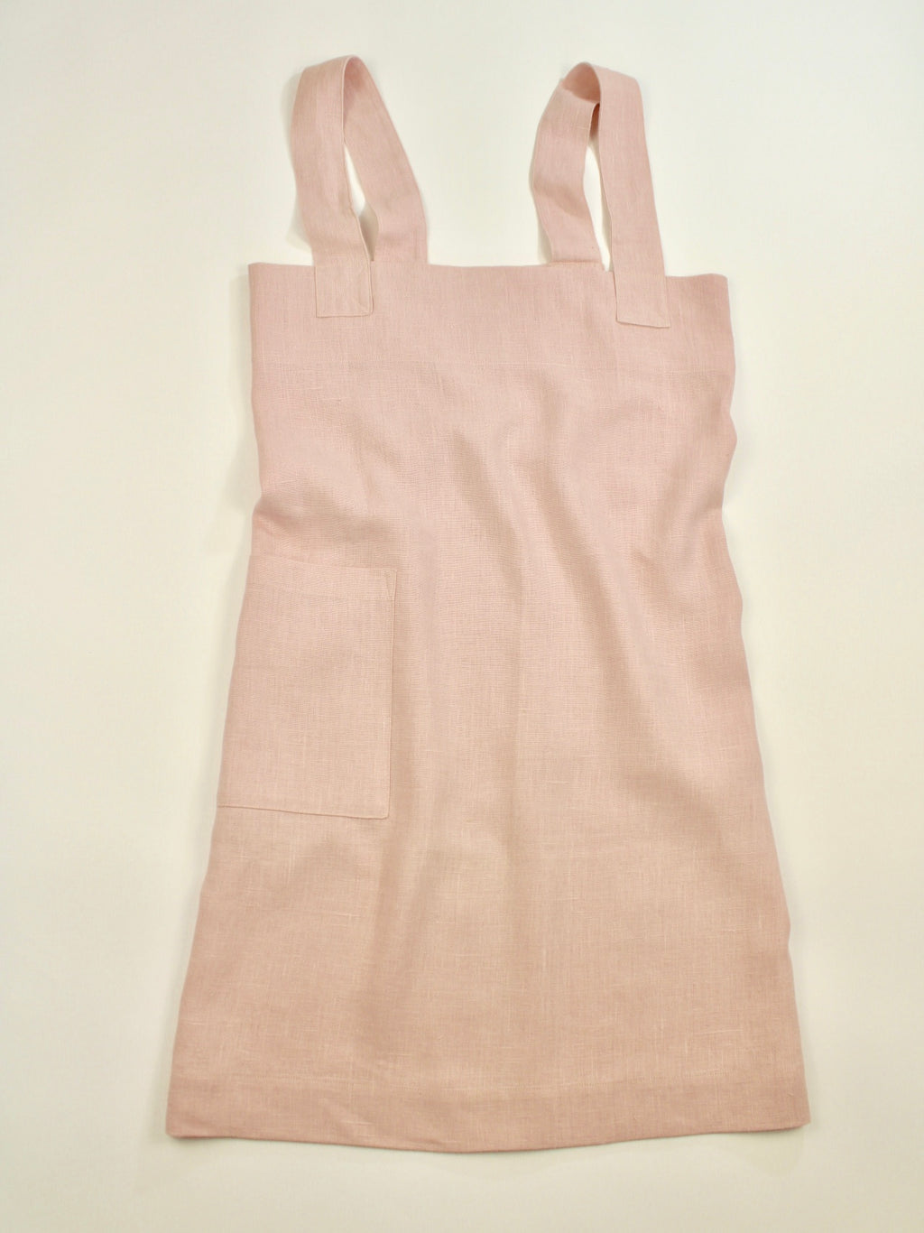 Linen cross back apron Muted Pink Dogwood