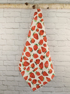 Heavy Linen Tea Towel Watercolor Strawberries