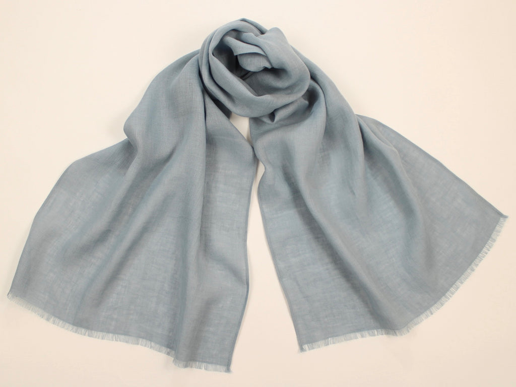 Lightweight Linen Scarf Pale Blue Gray