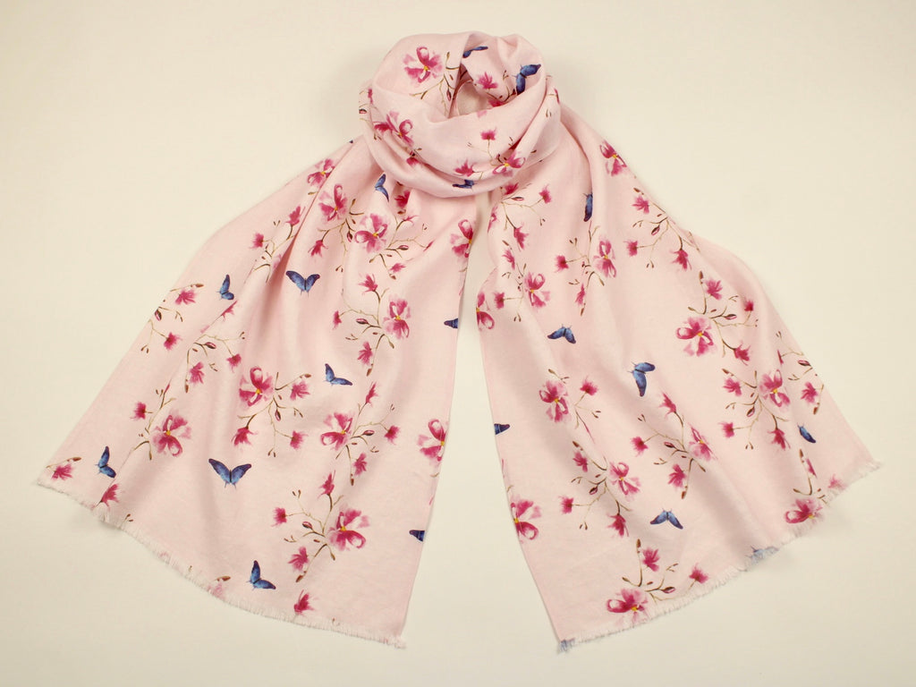 Linen Scarf Watercolor Magnolias and Blue Butterflies