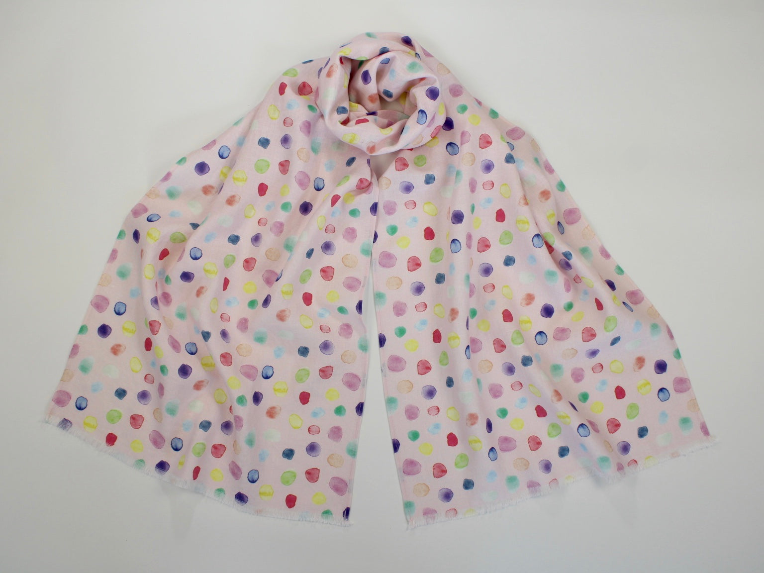 Linen Scarf Watercolor Bubbles Pink