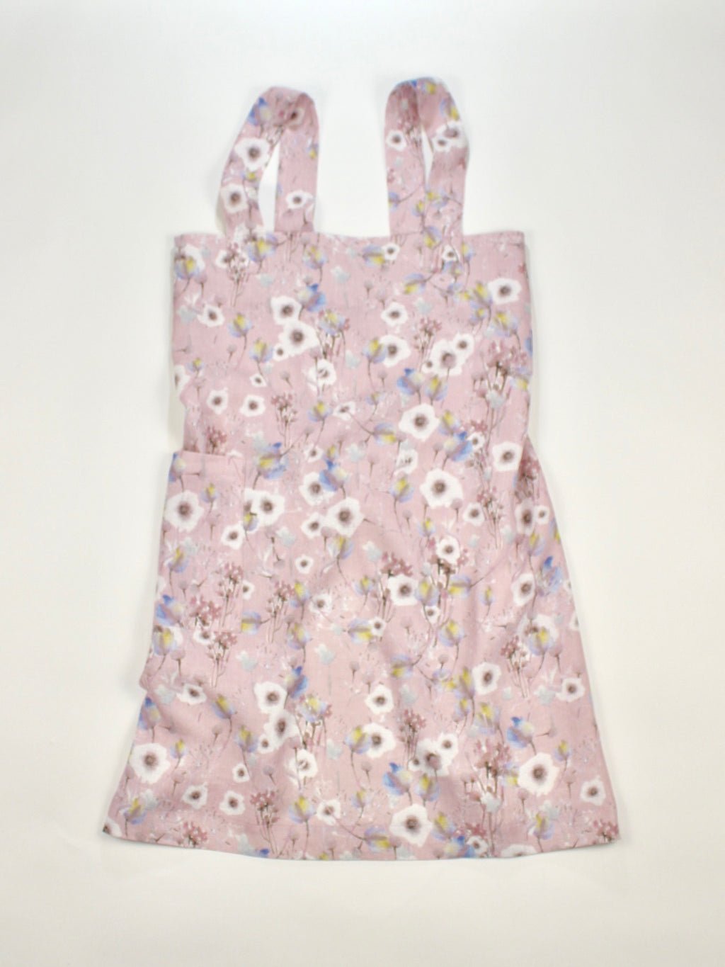 "Linen cross back apron ""Watercolor White Poppies"""