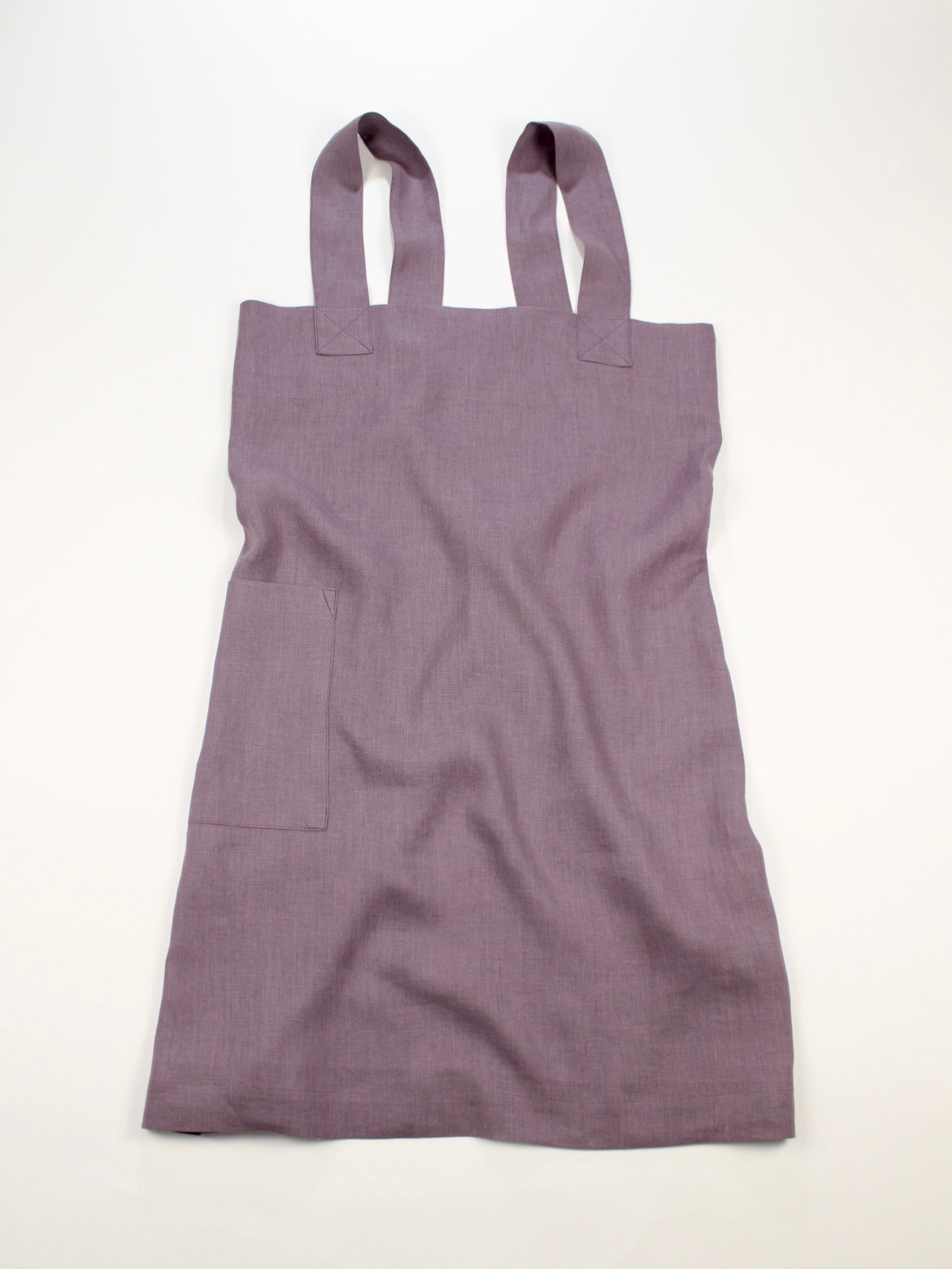 Linen cross back apron Muted Lilac