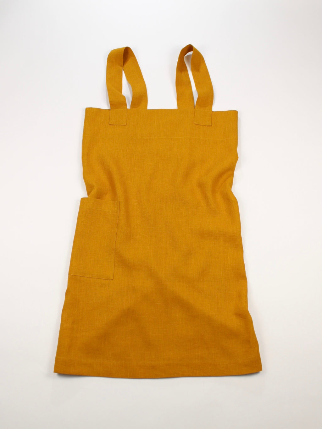 Linen cross back apron Turmeric Yellow