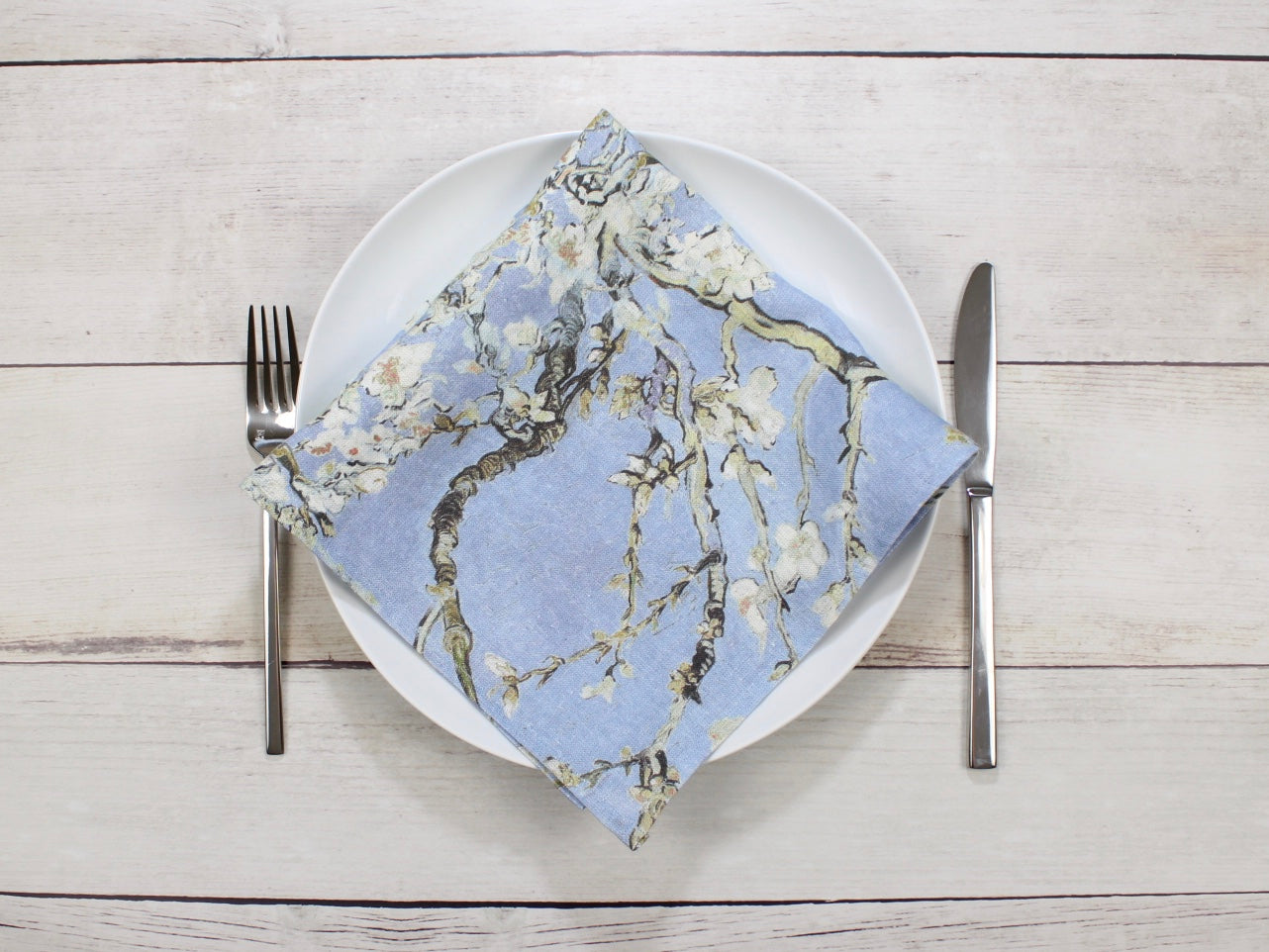 Linen napkins Set of four Van Gogh Almond Blossom Blue