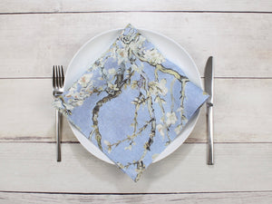 Linen napkins Set of two Van Gogh Almond Blossom Blue