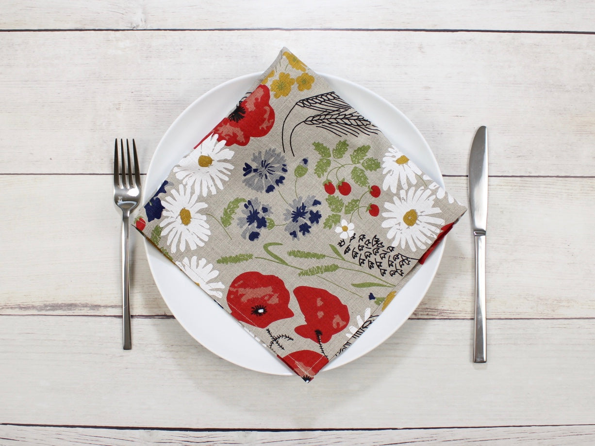 Linen napkins Wildflower Meadow Natural flax Set of two