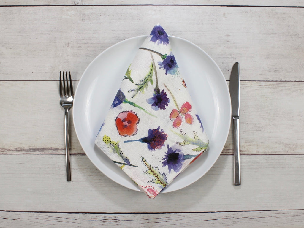 Linen napkins Watercolor Flowers Set of two