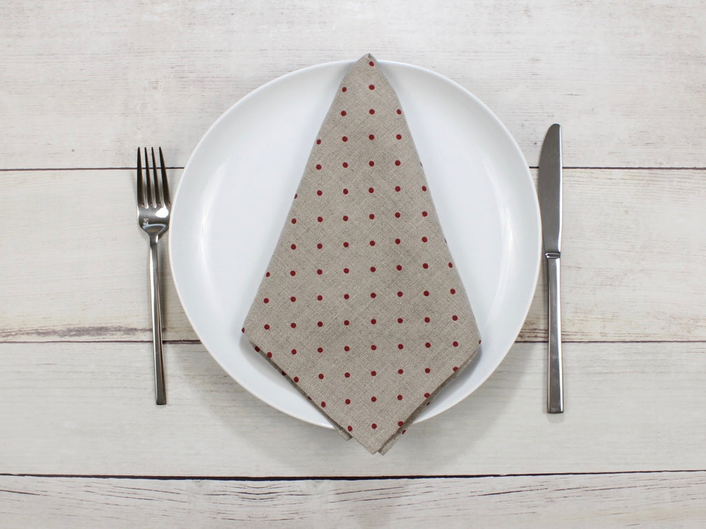 Linen napkins Red Polka Dot Natural Flax Set of four