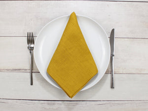 Linen napkins Mustard Yellow Set of two