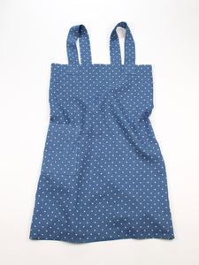 Linen cross back apron Polka Dot Blue