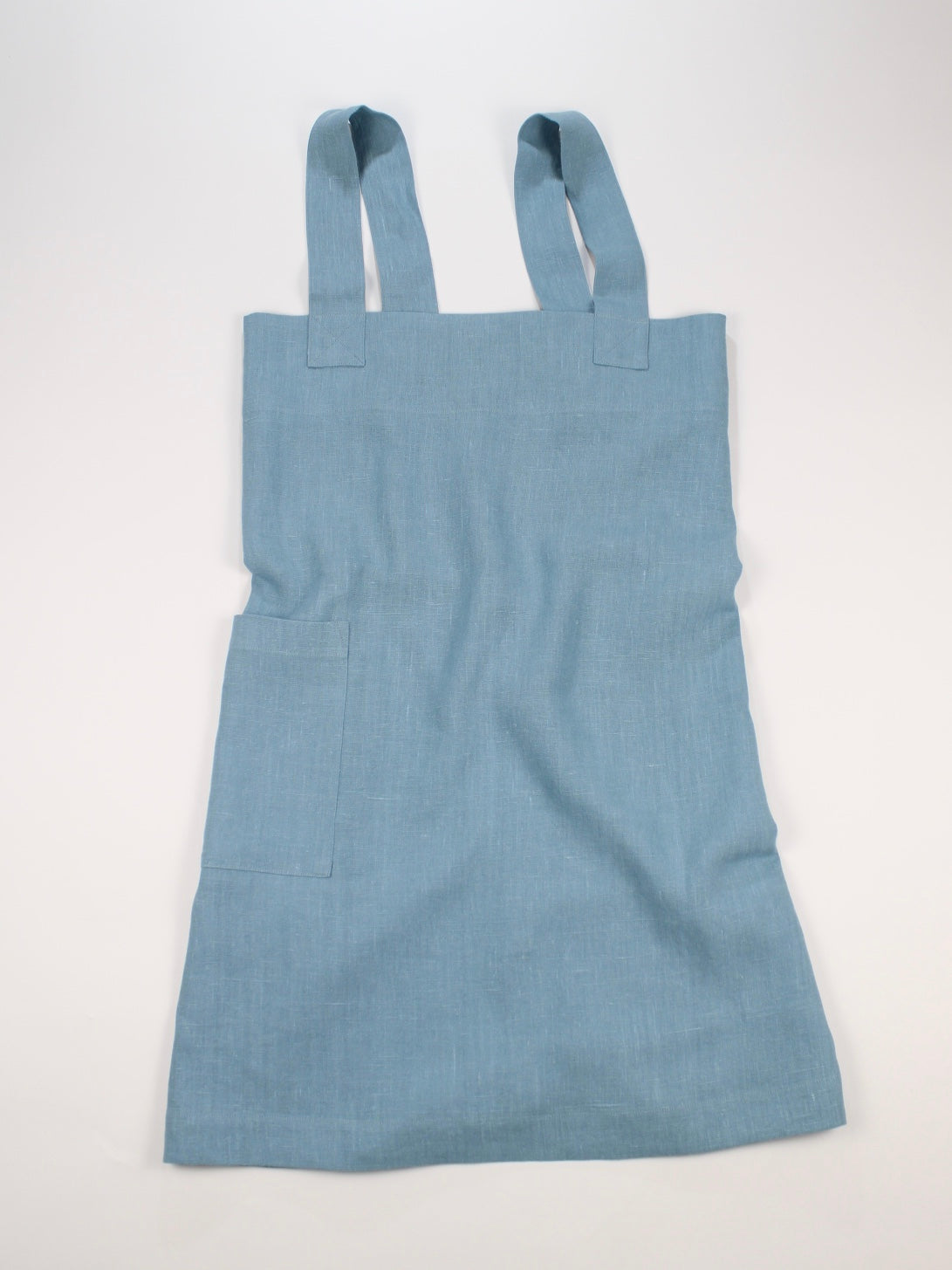 Linen cross back apron Blue Green
