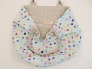 Linen Handbag Watercolor Bubbles Blue