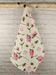 Linen Tea Towel Watercolor Pink Peonies