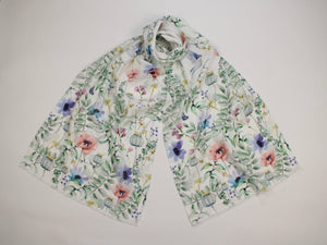 Linen Scarf Watercolor Florals, Birds & Butterflies