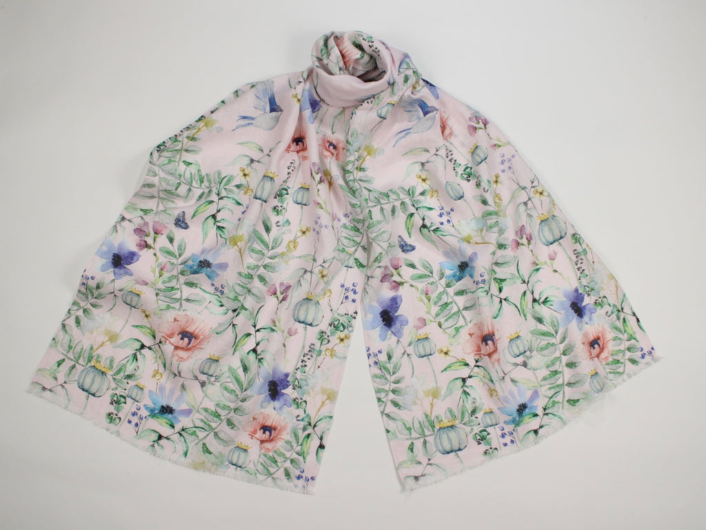 Linen Scarf Watercolor Florals, Birds & Butterflies Pink