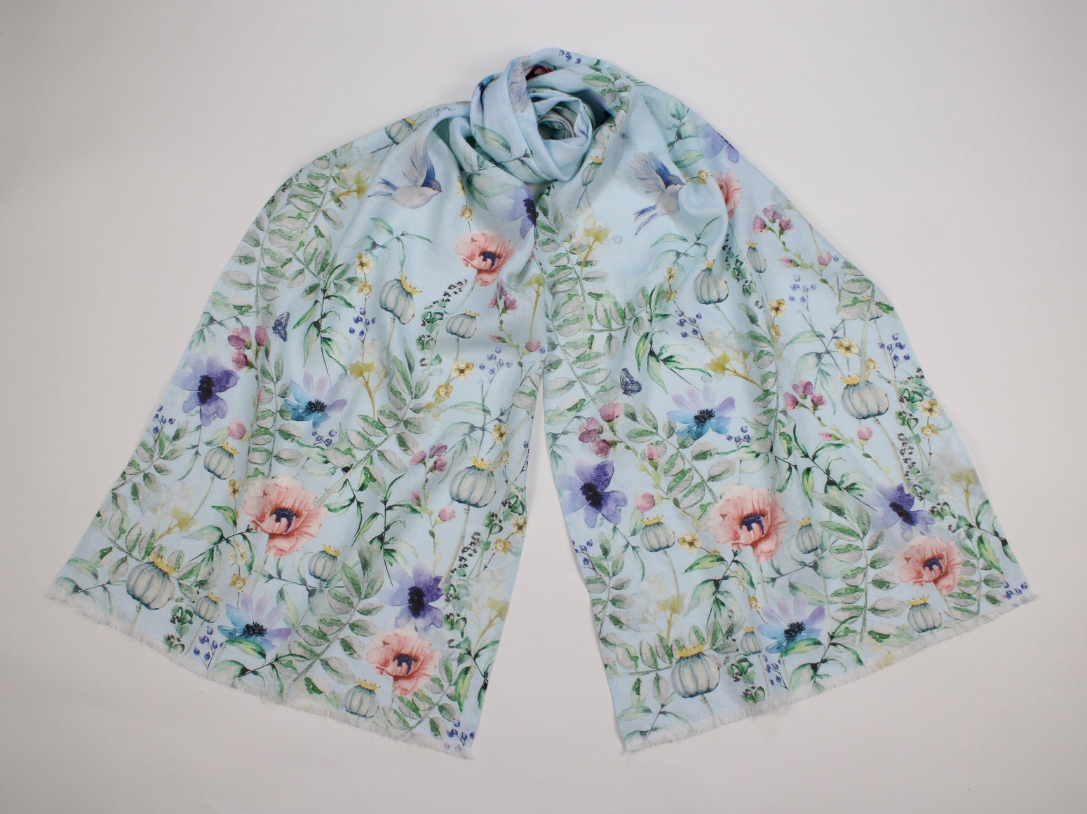 Linen Scarf Watercolor Florals, Birds & Butterflies Blue
