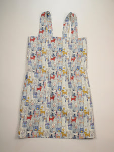 Linen cross back apron Watercolor Cats Blue