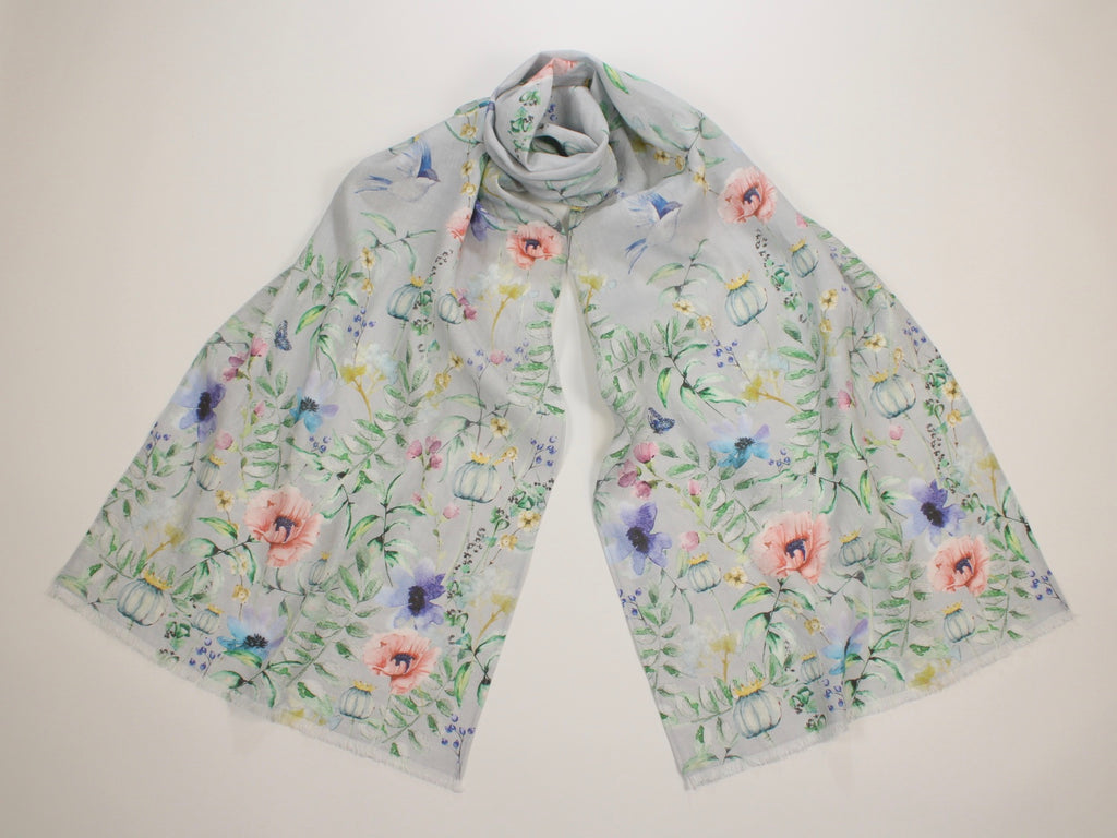 Linen Scarf Watercolor Florals, Birds & Butterflies Gray