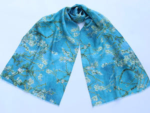 "Linen Scarf Vincent Van Gogh ""Almond Blossom"" Turquoise Blue"