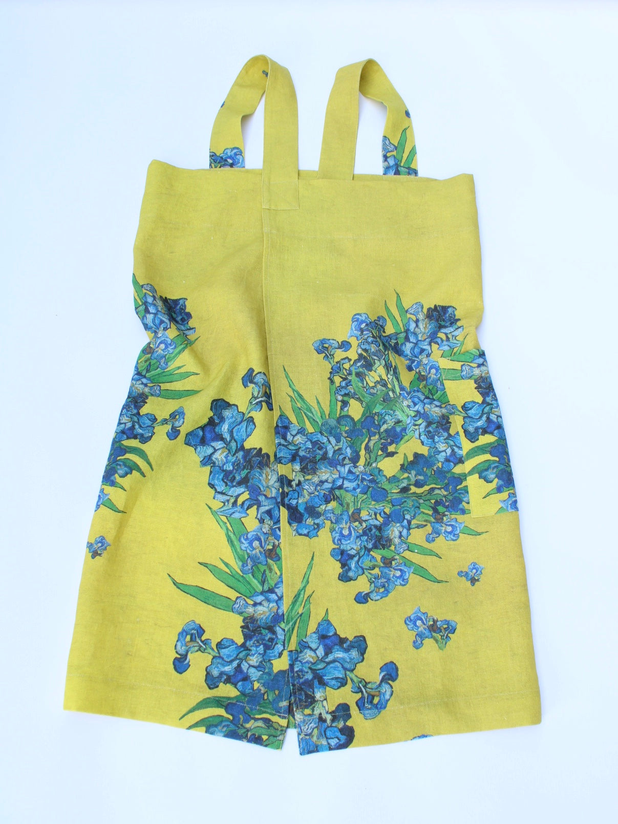 Linen cross back apron Vincent Van Gogh Irises