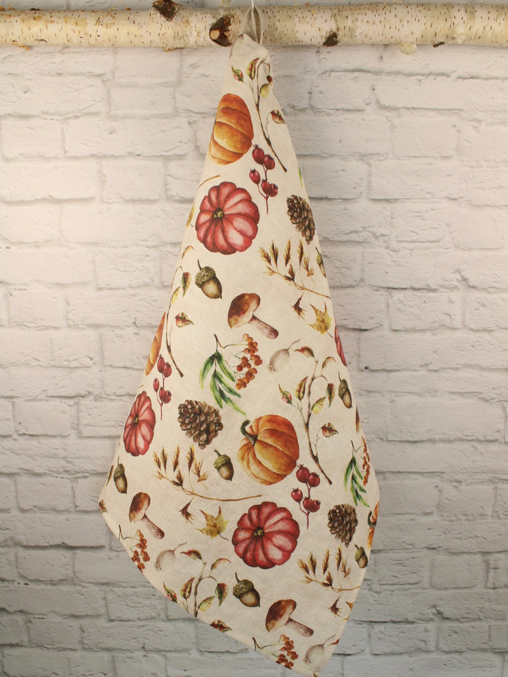 Heavy Linen Tea Towel Watercolor Autumn Harvest Mushrooms