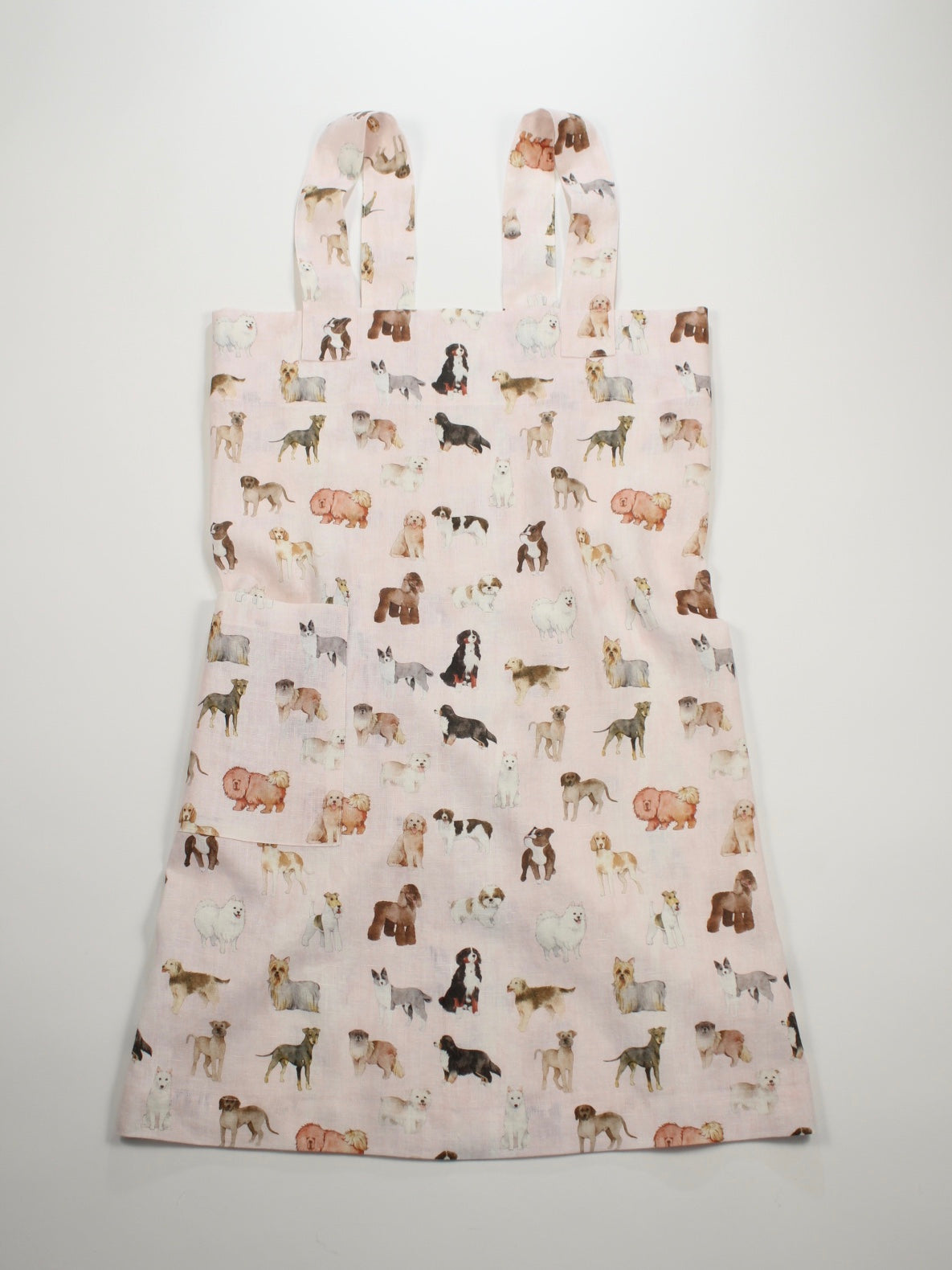 Linen cross back apron Watercolor Dogs