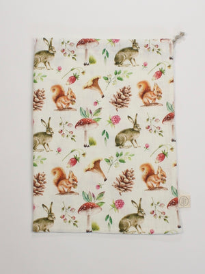 Linen Bread Bag Forest Friends Mushroom Collection
