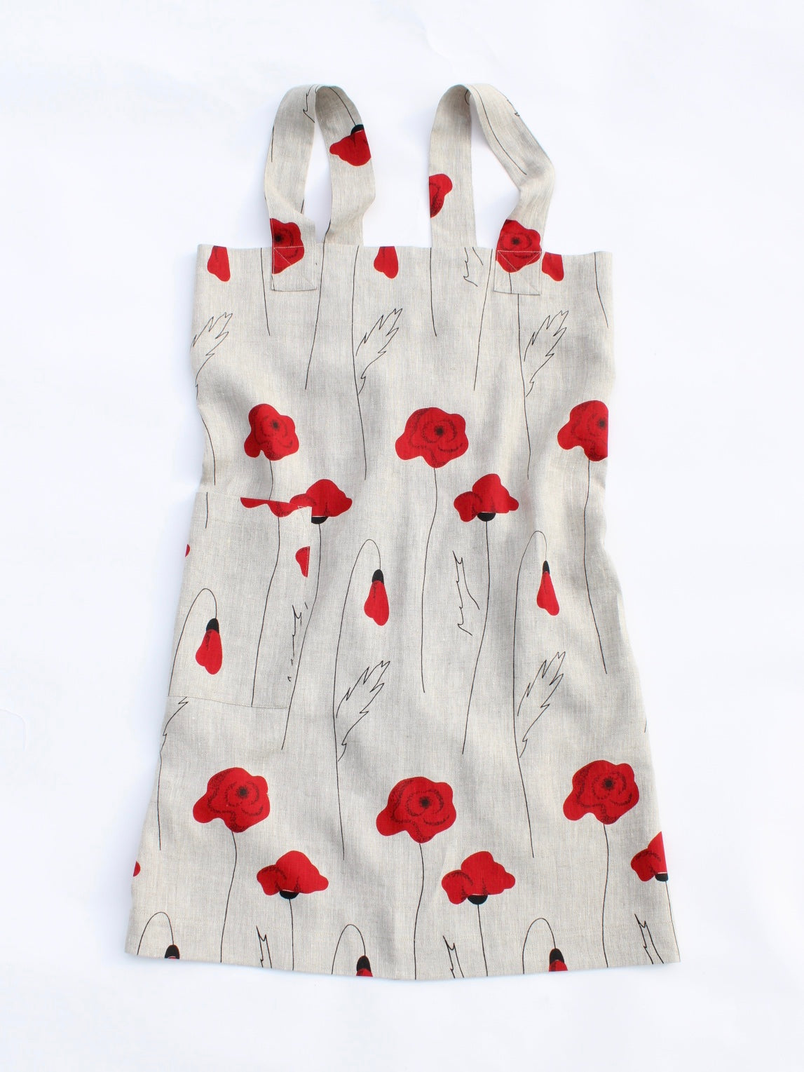 Linen cross back apron Red Poppies