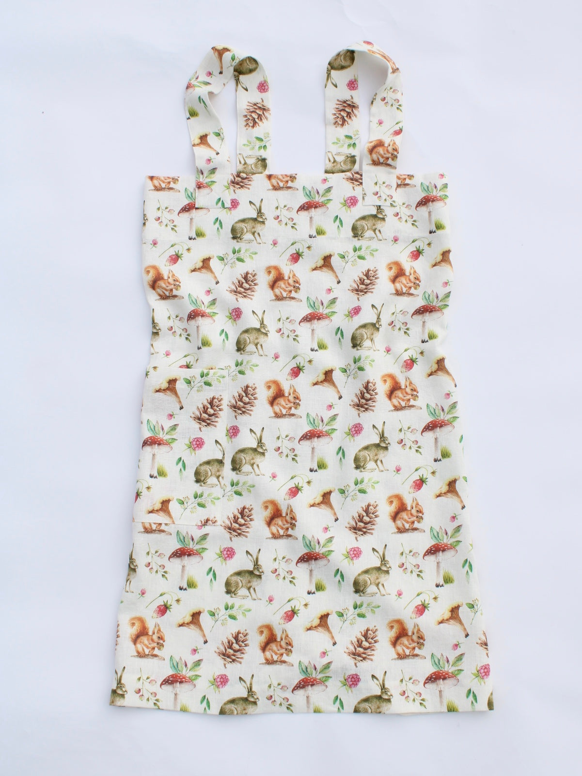 Linen cross back apron Forest Friends Watercolor Mushroom Collection