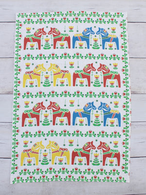 Heavy Linen Tea Towel Dala Horse Scandinavian Collection