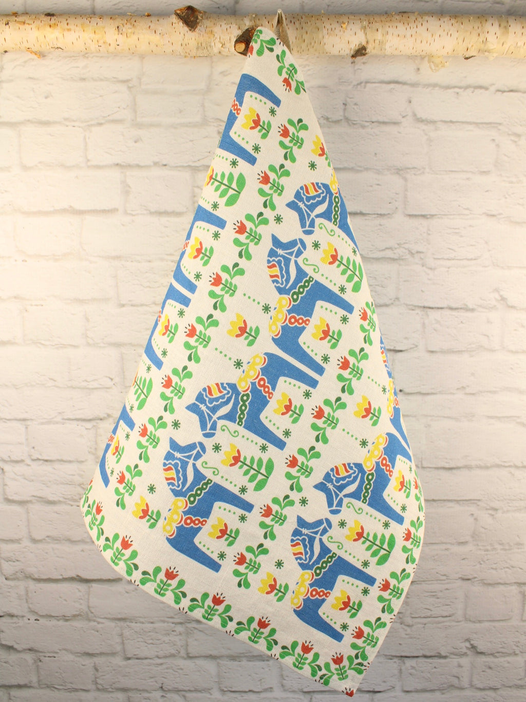 Heavy Linen Tea Towel Dala Horse Blue Scandinavian Collection