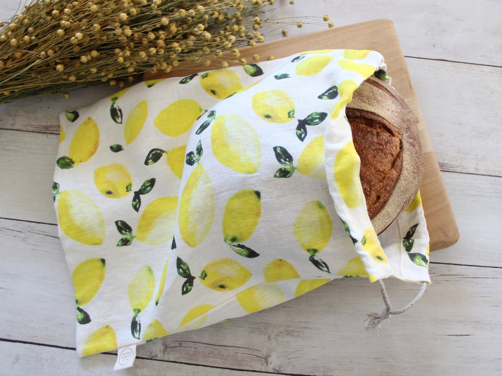 Linen Bread Bag Watercolor Lemons