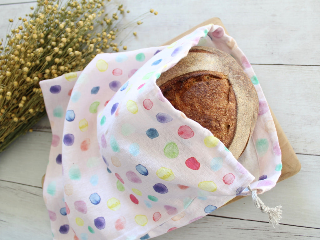 Linen Bread Bag Watercolor Bubbles Pink
