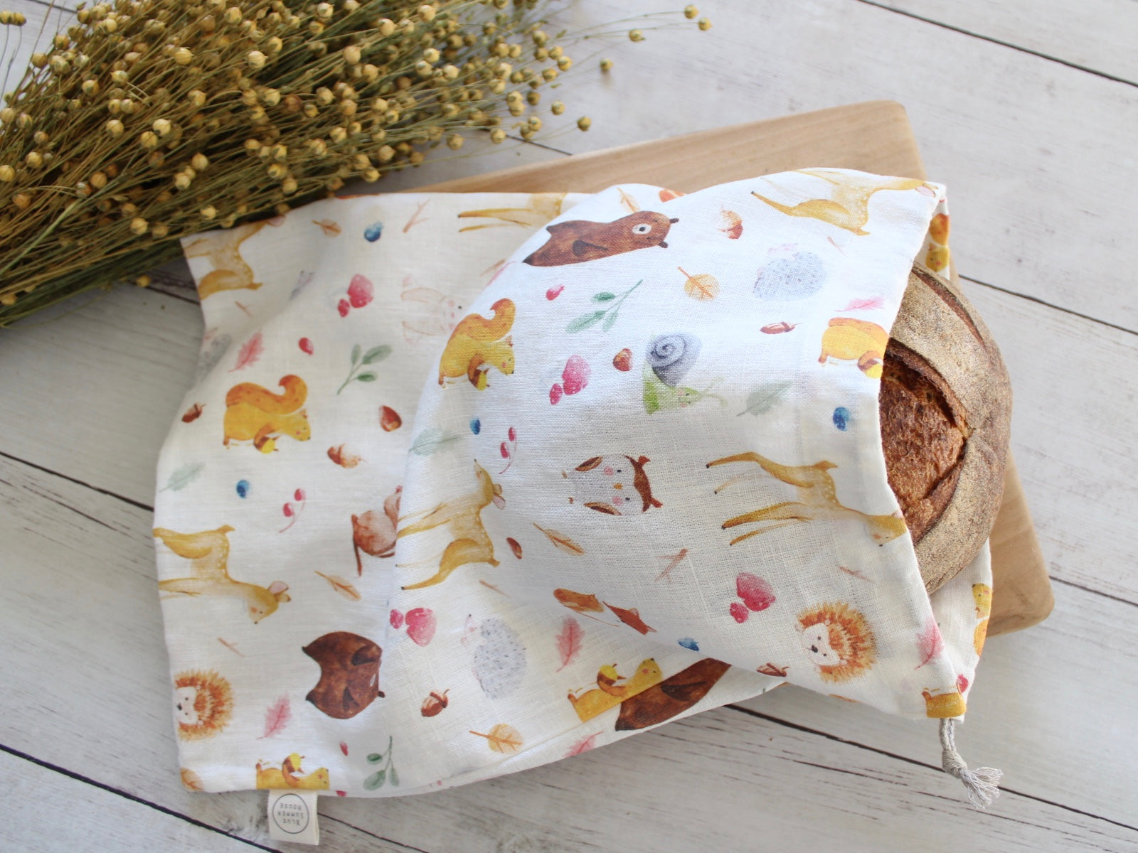 Linen Bread Bag Woodland Fairytale Mushroom Collection