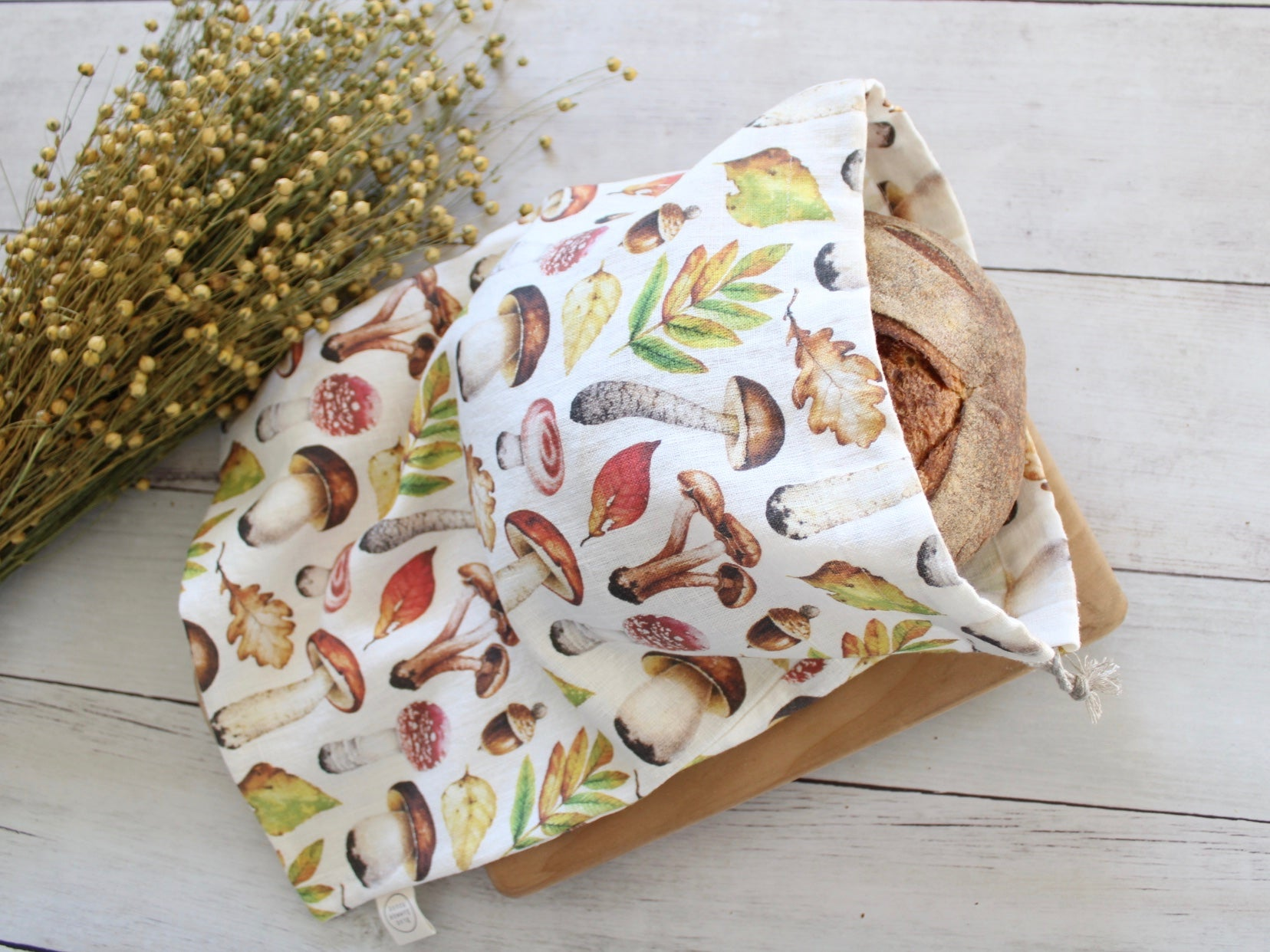 Linen Bread Bag Autumn Forest Mushrooms