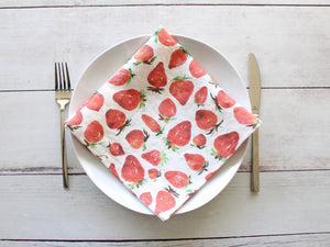 Linen napkins Watercolor Strawberries Set of two
