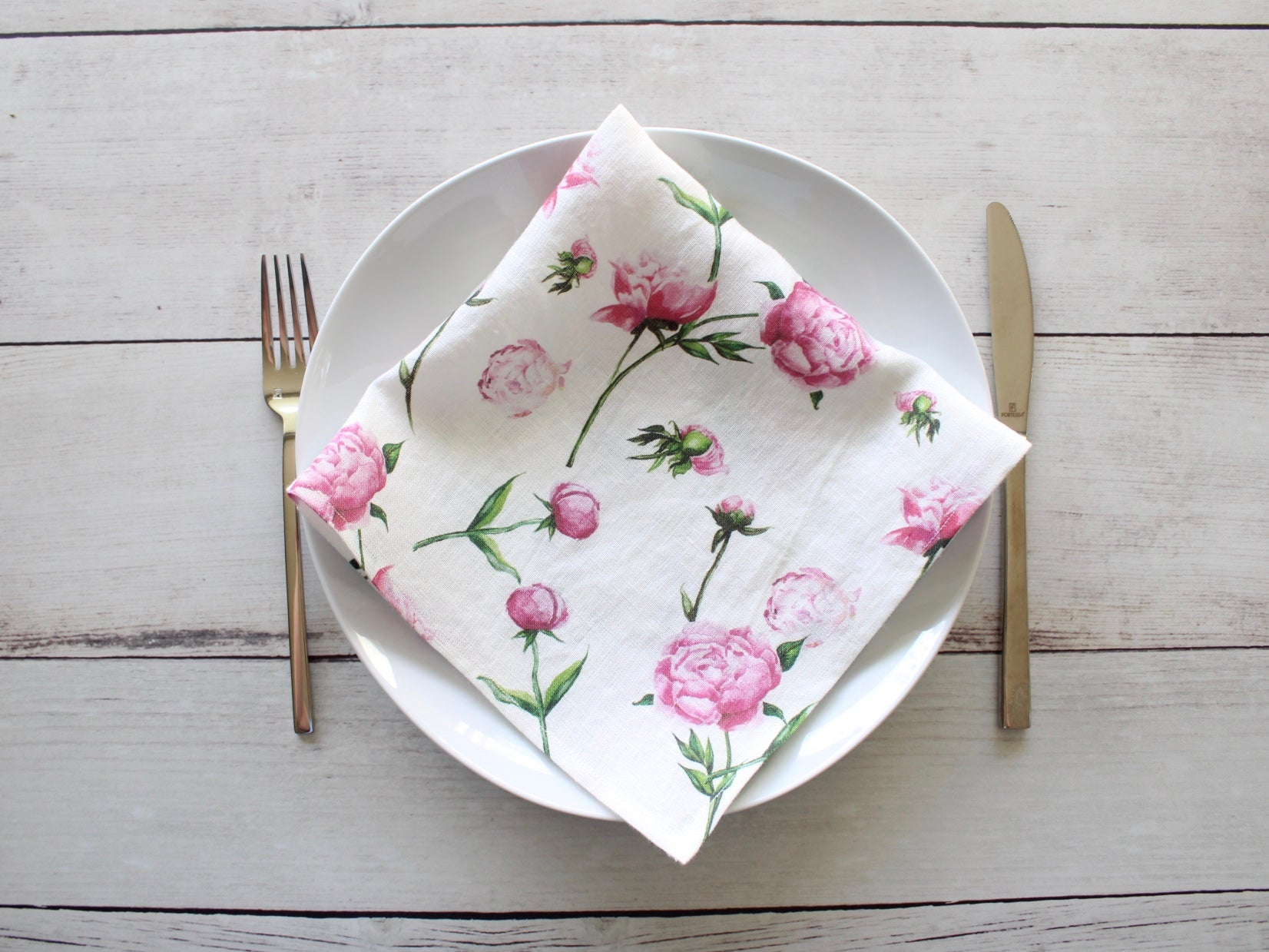 Linen napkins Watercolor Pink Peonies Set of two