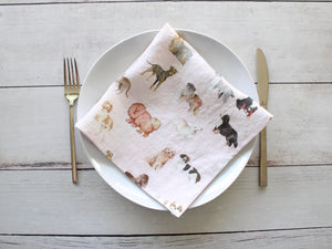 Linen napkins Watercolor Dogs Set of two