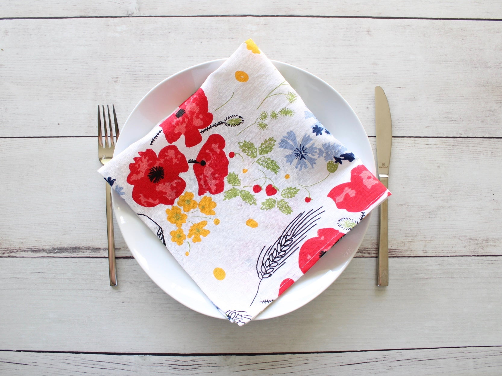 Linen napkins Wildflower Meadow White Set of two