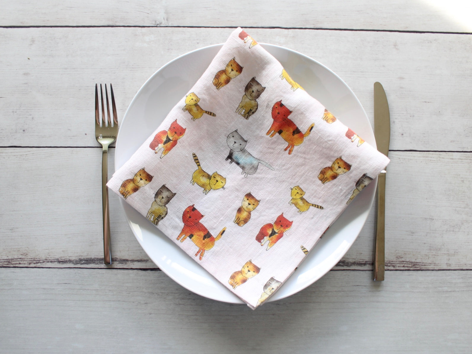 Linen napkins Watercolor Cats Set of two
